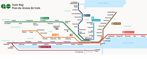 GO train map and expansion. GO Train to Niagara.