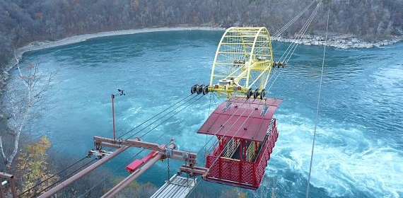 The Whirlpool Aero Car in Niagara Falls overlooks the Niagara whirlpools and Niagara Gorge.
