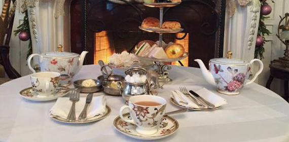 China teapots served at afternoon tea in Niagara on the Lake.